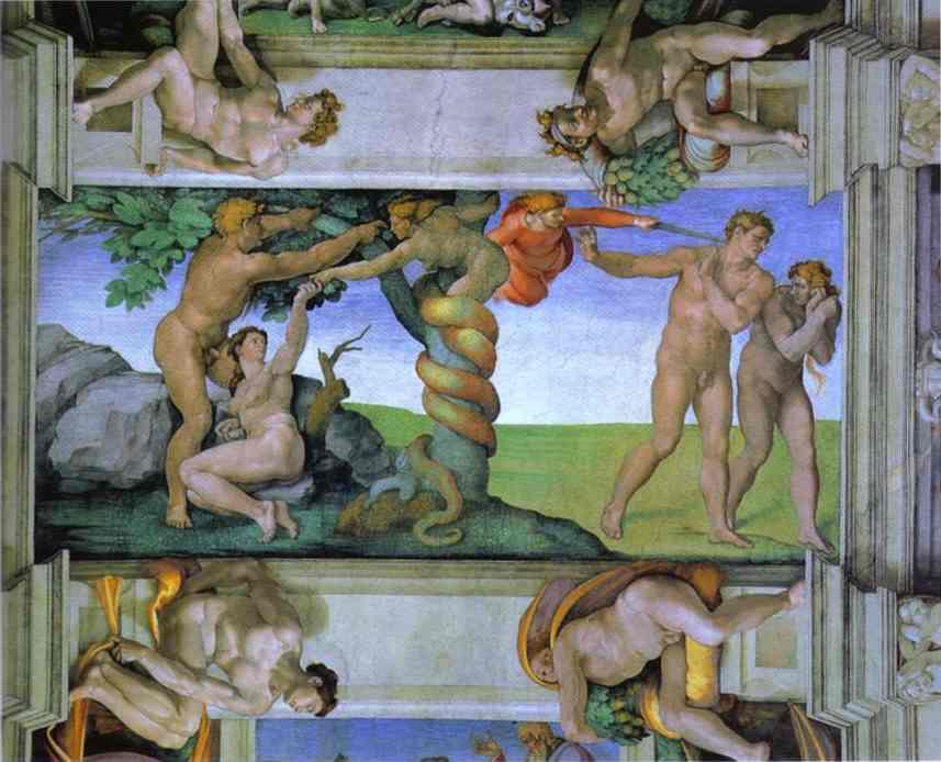 Микеланджело Буонарроти. Грехопадение и изгнание из Эдемского Сада