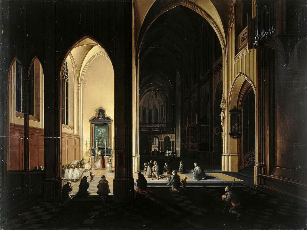 Питер Старший Франкен Иероним II Неффс. Внутренний вид готической церкви