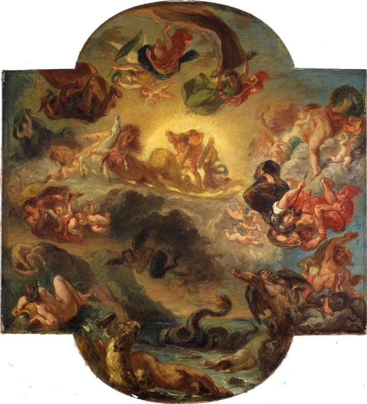 "Eugene Delacroix. Triumph of Apollo (a Sketch for the painting ""Apollo, striking Python"", Louvre, Paris)"