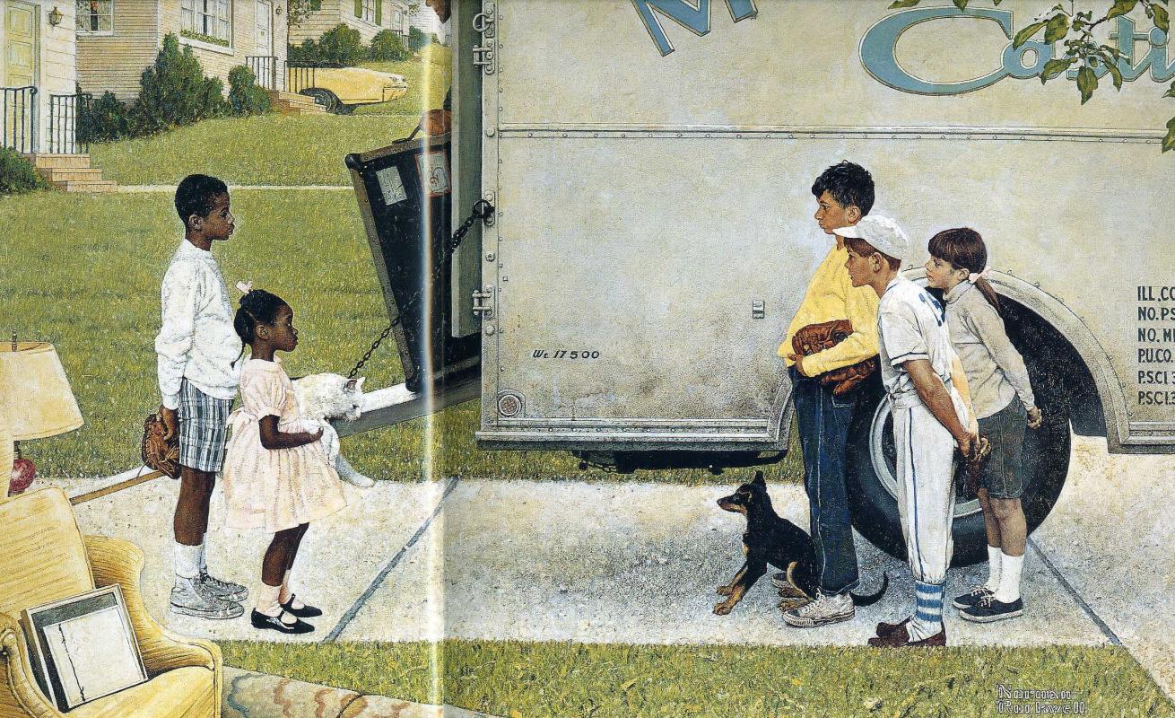"""Норман Роквелл. Новые соседи. Иллюстрация для журнала """"Look"""" (16 мая 1967 года)"""