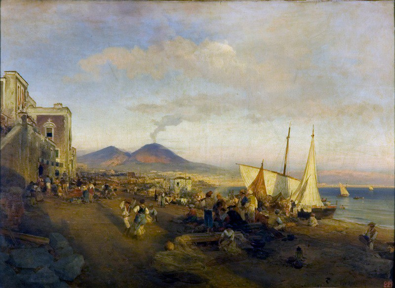 Oswald Achenbach. Evening in Naples.
