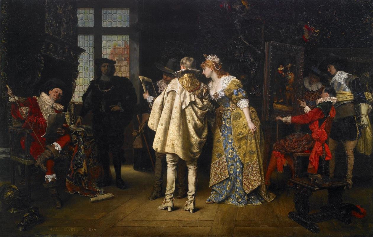 Адольф Александр Лесрель. Фламандские вельможи, посещающие мастерскую Рембрандта