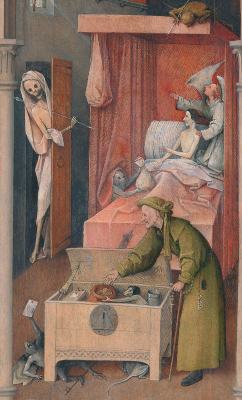 Hieronymus Bosch. The death of the miser. Fragment
