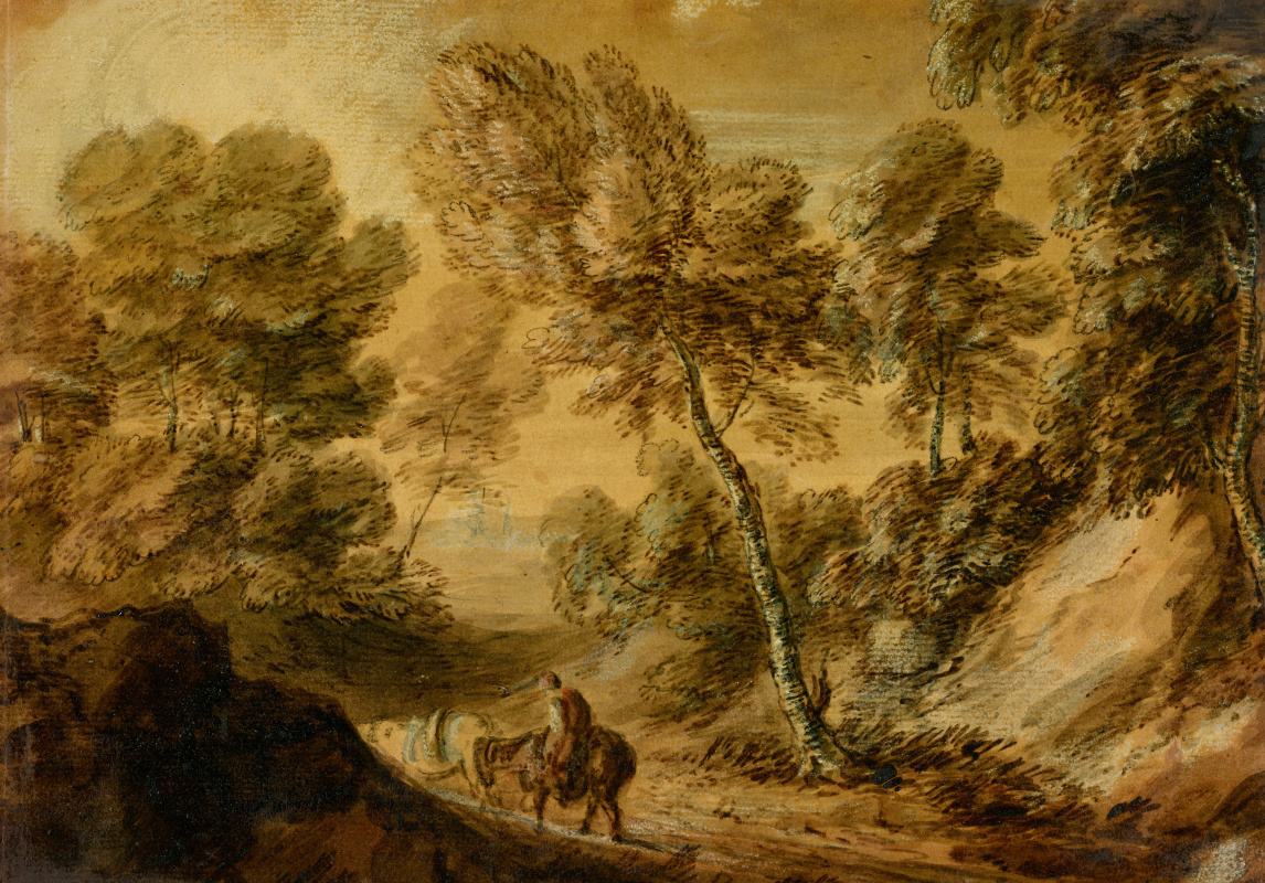 Thomas Gainsborough. Forest landscape with a road, Laden with rider and horse