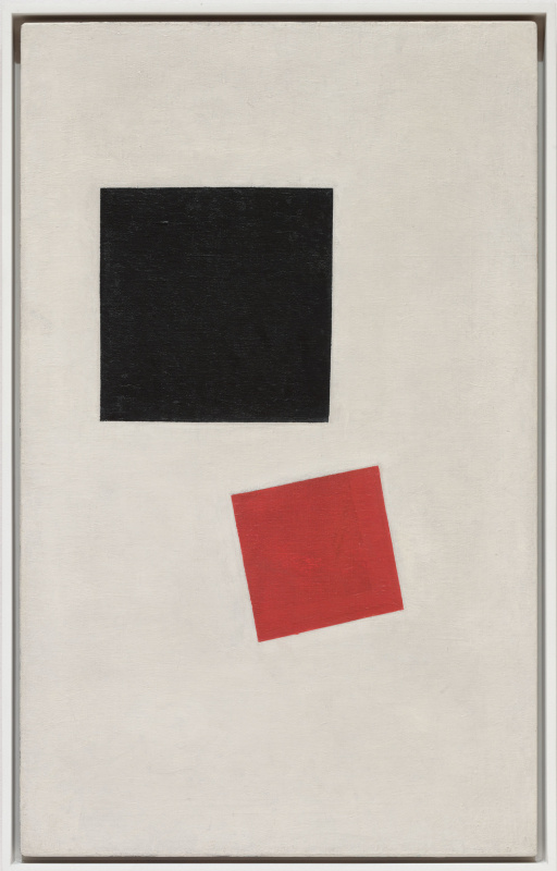 Kazimir Malevich. Black square and red square (Picturesque realism. A boy with a knapsack. - Colorful masses in the fourth dimension).