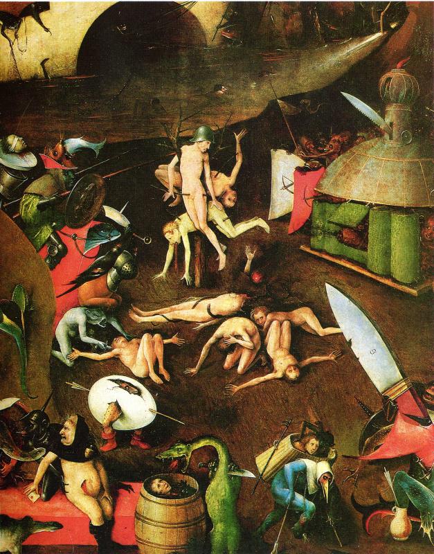 Иероним Босх. Страшный суд. Центральная часть триптиха. Фрагмент