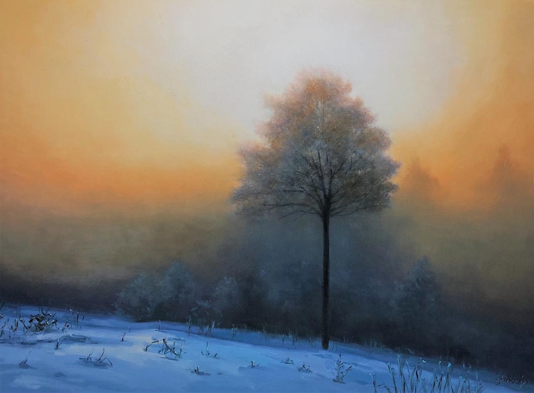"""Савелий Камский. Зимний пейзаж маслом """"Туман зимним утром N2"""""""
