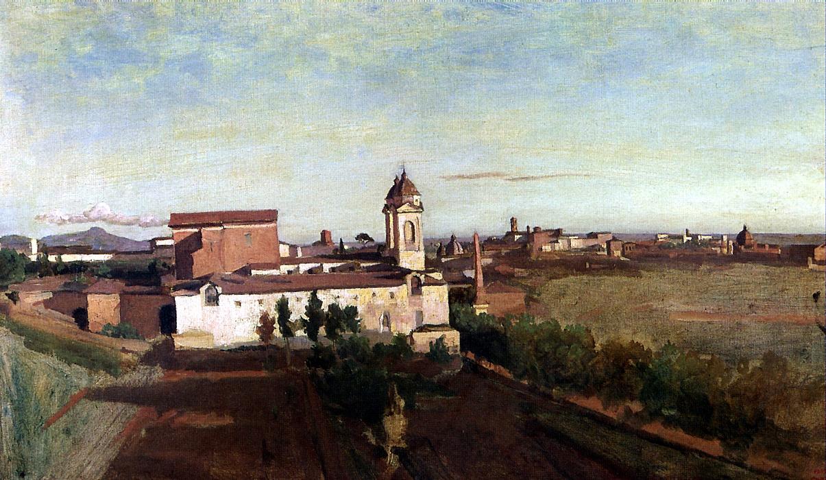 Camille Corot. View of the Trinita dei Monti church from the Villa Medici