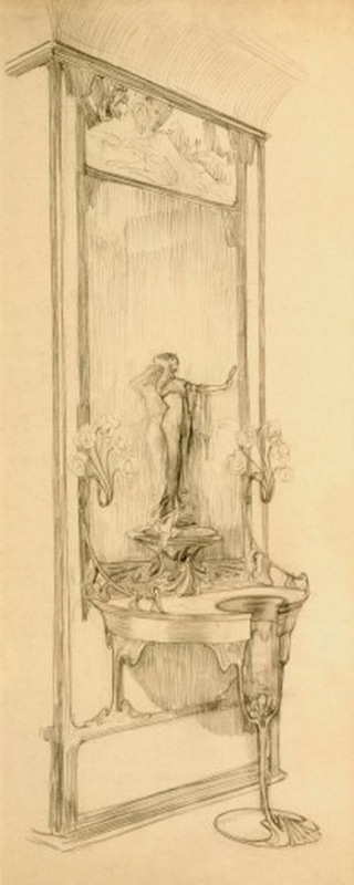 Alfonse Mucha. The interior of the jewelry store of Georges Fouquet. A sketch showcase with mirror and figurine