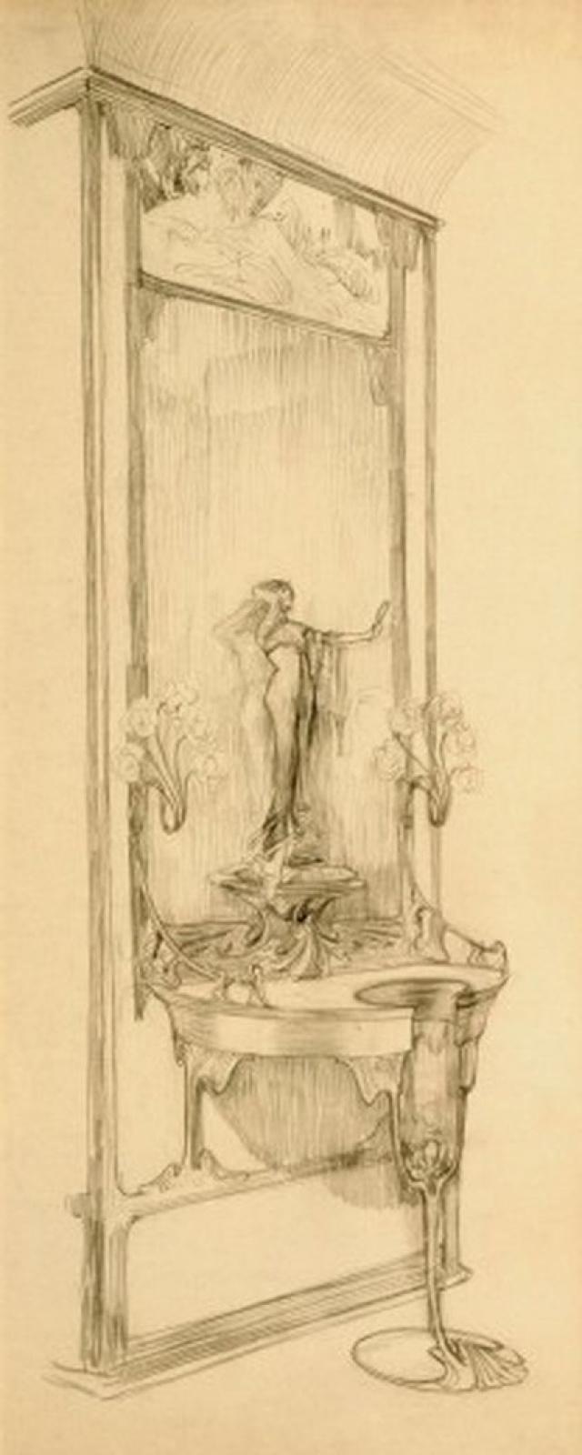 Альфонс Муха. Интерьер ювелирного магазина Жоржа Фуке. Эскиз витрины с зеркалом и статуэткой