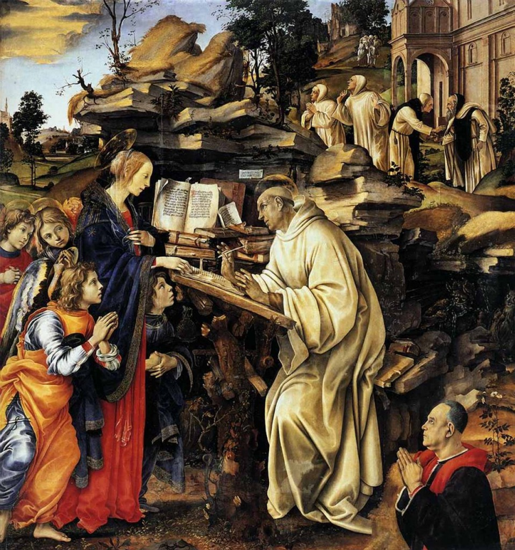 Filippino Lippi. The appearance of the virgin to St. Bernard