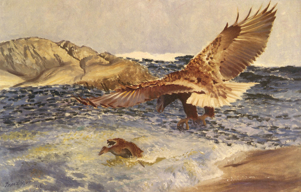 Bruno Liljefors. Eagle chasing a duck