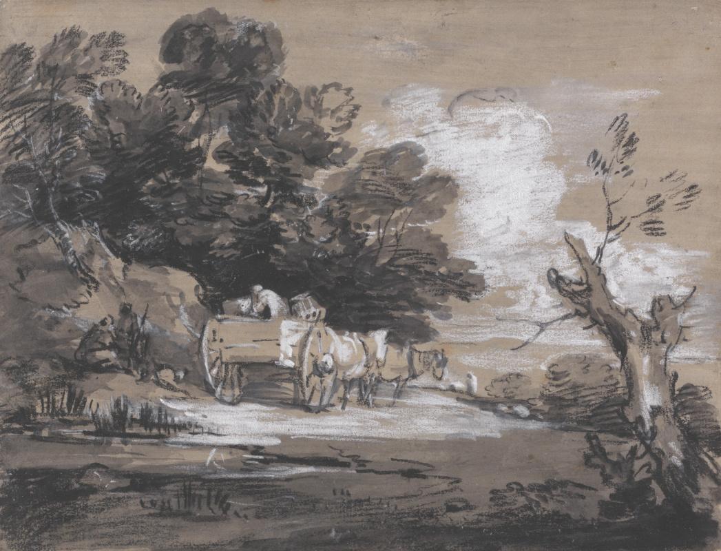 Томас Гейнсборо. Лесной пейзаж с крестьянской повозкой