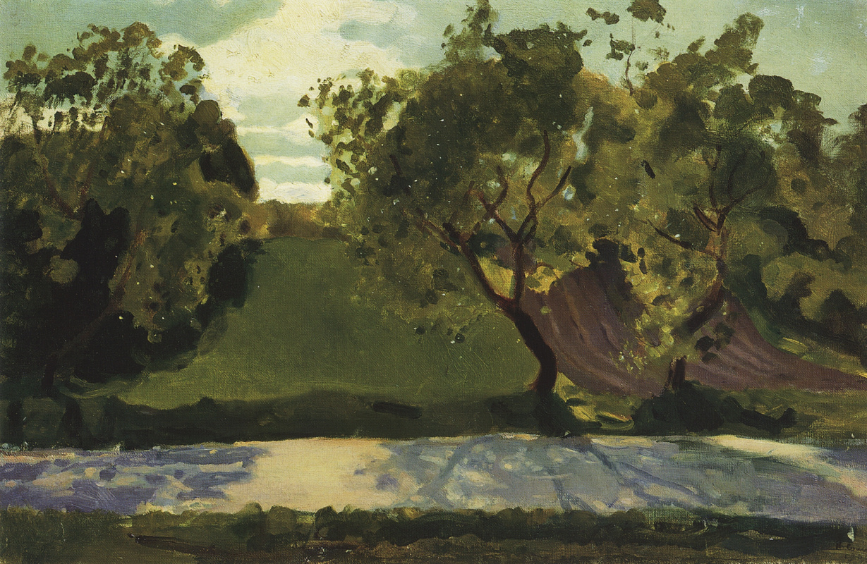 Constantin Somov. Green slope on the road