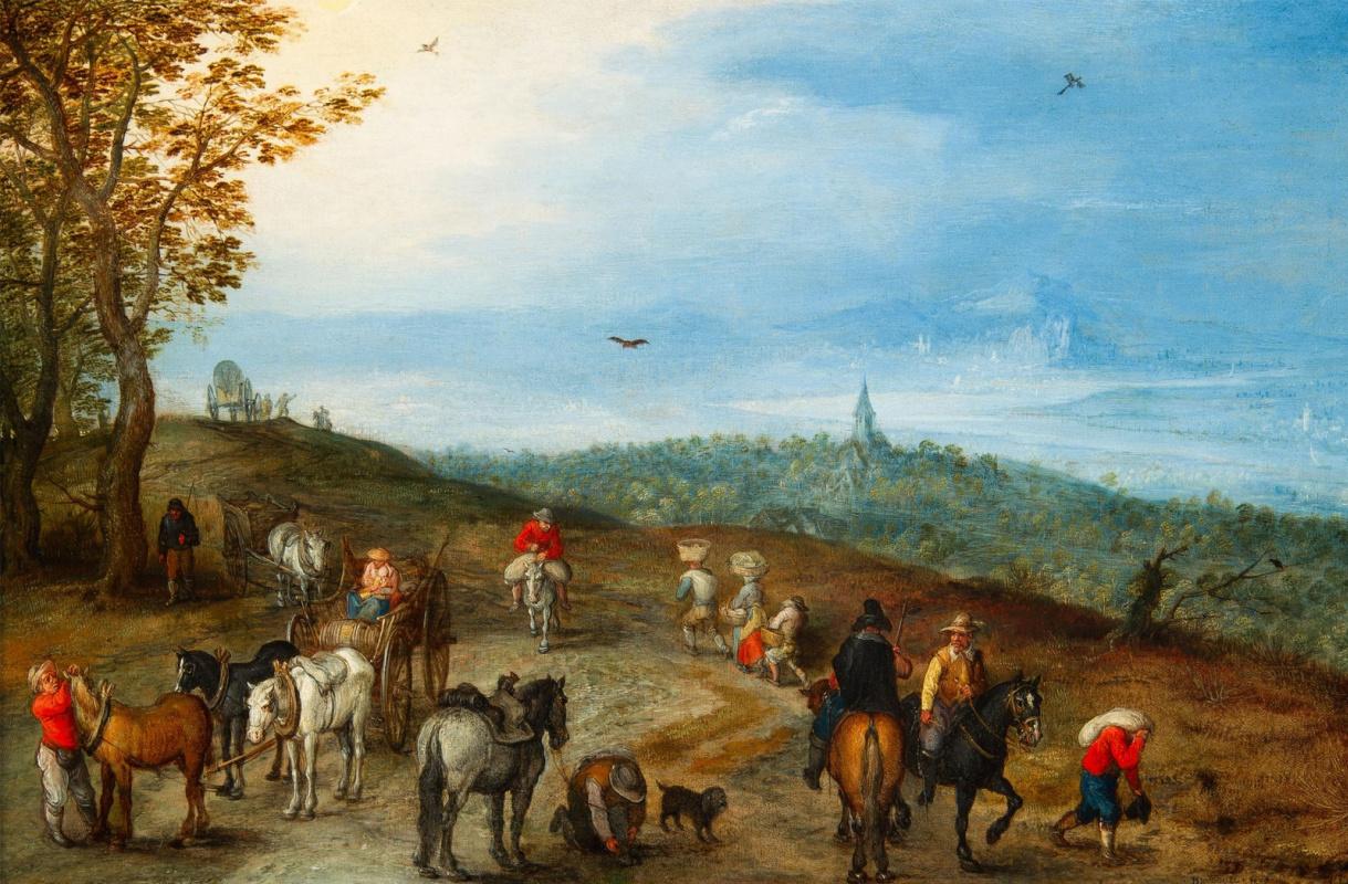 Jan Bruegel The Elder. Vast landscape with travelers on a rural road. 1608-1610