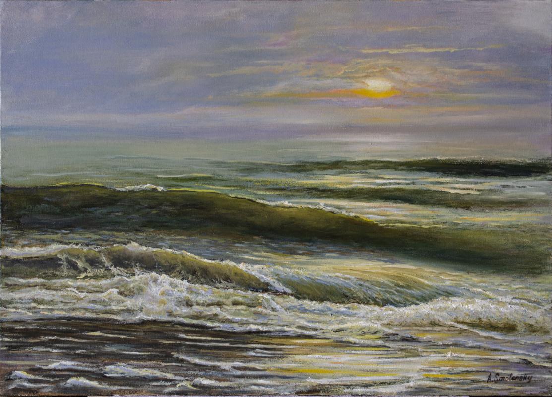 Andrey Smolensky. Waves at sunset