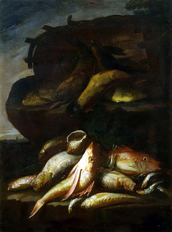 Элена Рекко. Натюрморт с рыбой и раковиной