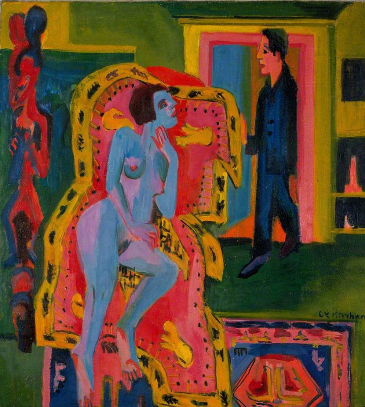 Ernst Ludwig Kirchner. Interior with naked woman and man