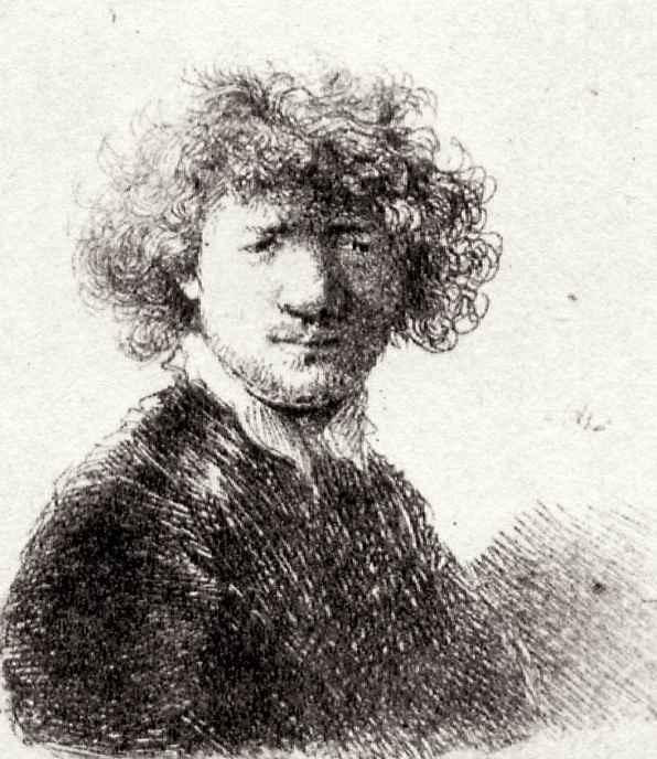 Рембрандт Ван Рейн. Автопортрет с курчавыми волосами