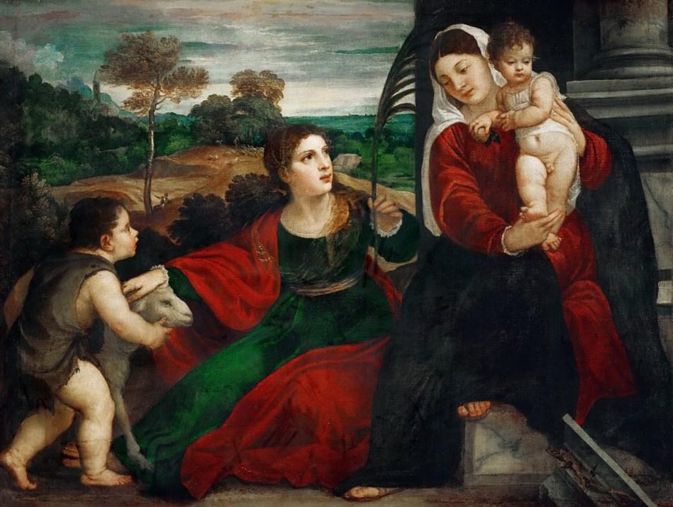 Тициан Вечеллио. Мадонна со святой Агнессой и святым Иоанном Крестителем