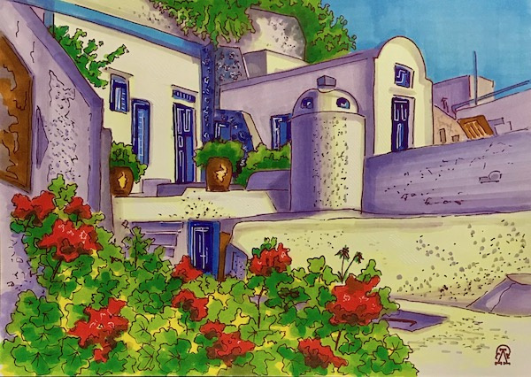 Larissa Lukaneva. Santorini. Sketch.