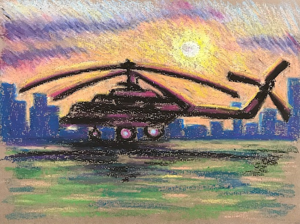 Larissa Lukaneva. Helicopter at sunset. Sketch.