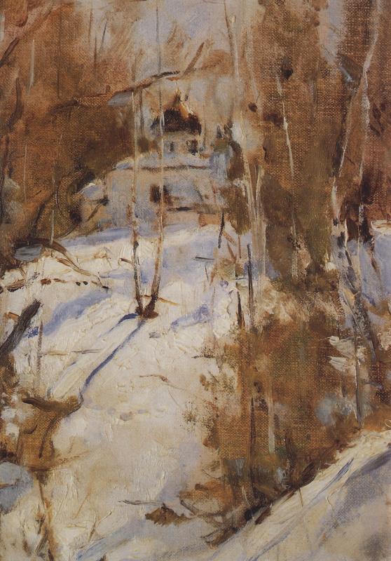 Валентин Александрович Серов. Зима в Абрамцеве. Церковь