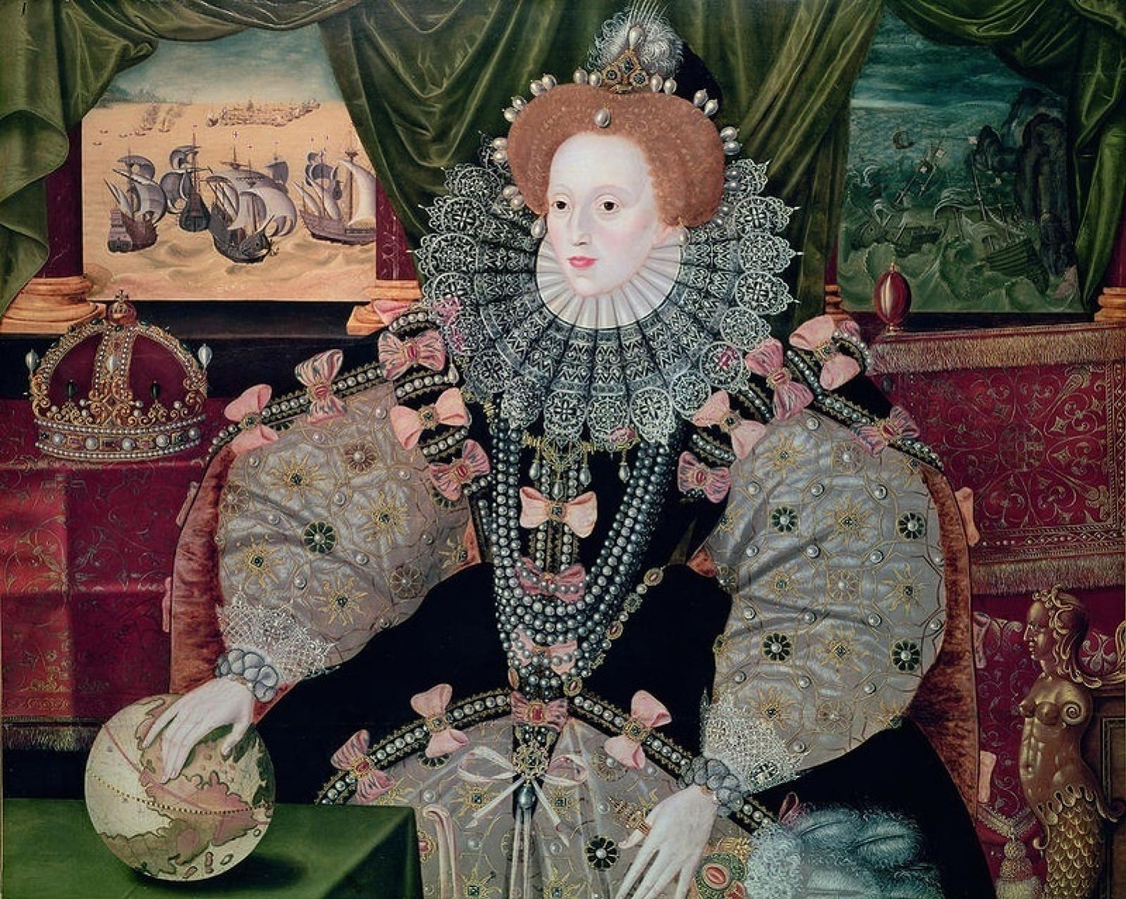 """Джордж  Говер. Портрет королевы Англии Елизаветы I на фоне """"Непобедимой Армады"""""""