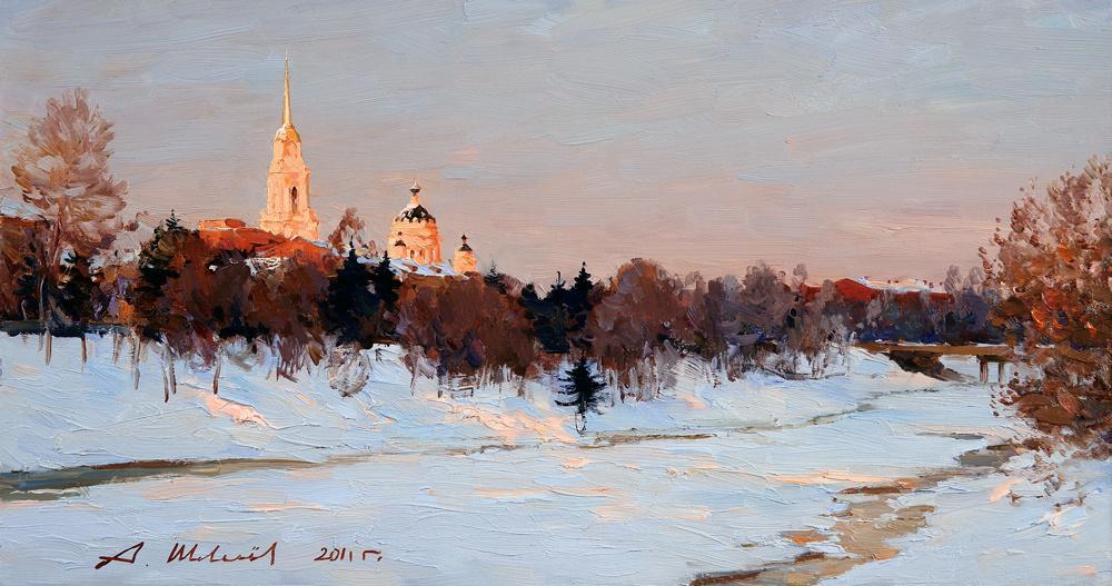 Alexander Victorovich Shevelyov. Winter evening in Rybinsk.Hardboard oil 32 # 61 see 2011