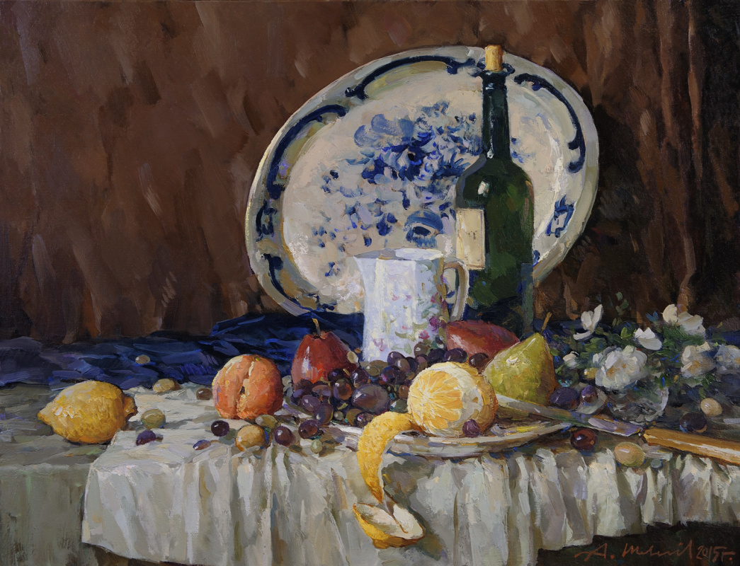 Alexander Victorovich Shevelyov. Porcelain and fruit. Oil on canvas 50.5 x 65 cm. 2015
