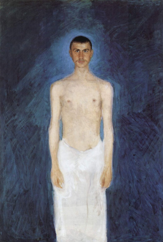 Richard Gerstl. Self portrait semi-Nude on a blue background