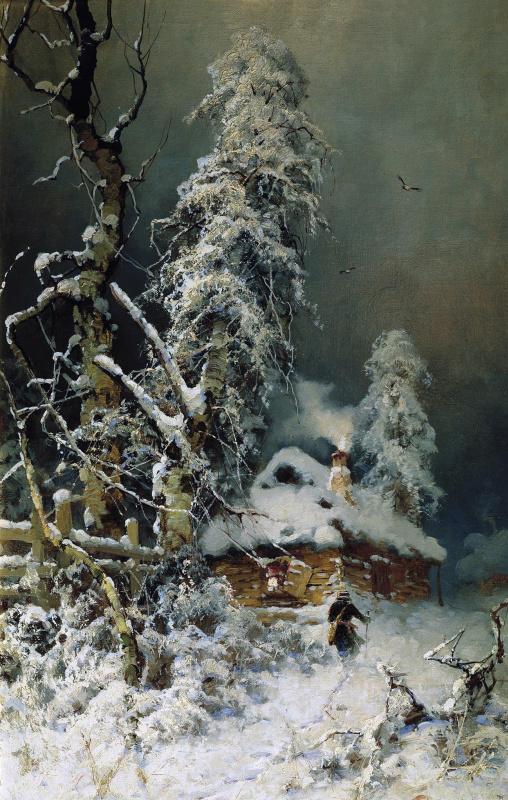 Юлий Юльевич Клевер. Зимний пейзаж с избушкой