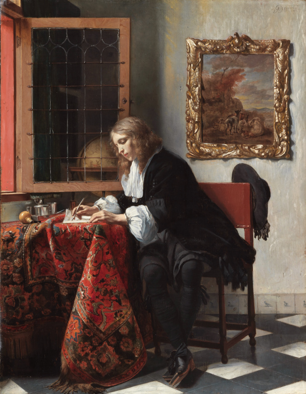 Gabrielle Metsu. The young man writing a letter