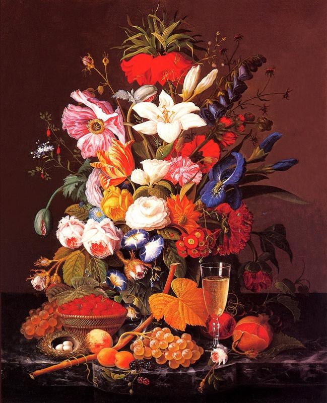 Северин Розен. Натюрморт с цветами и виноградом
