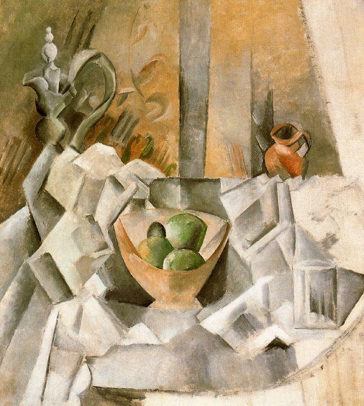 Пабло Пикассо. Графин, горшок и чаша с фруктами