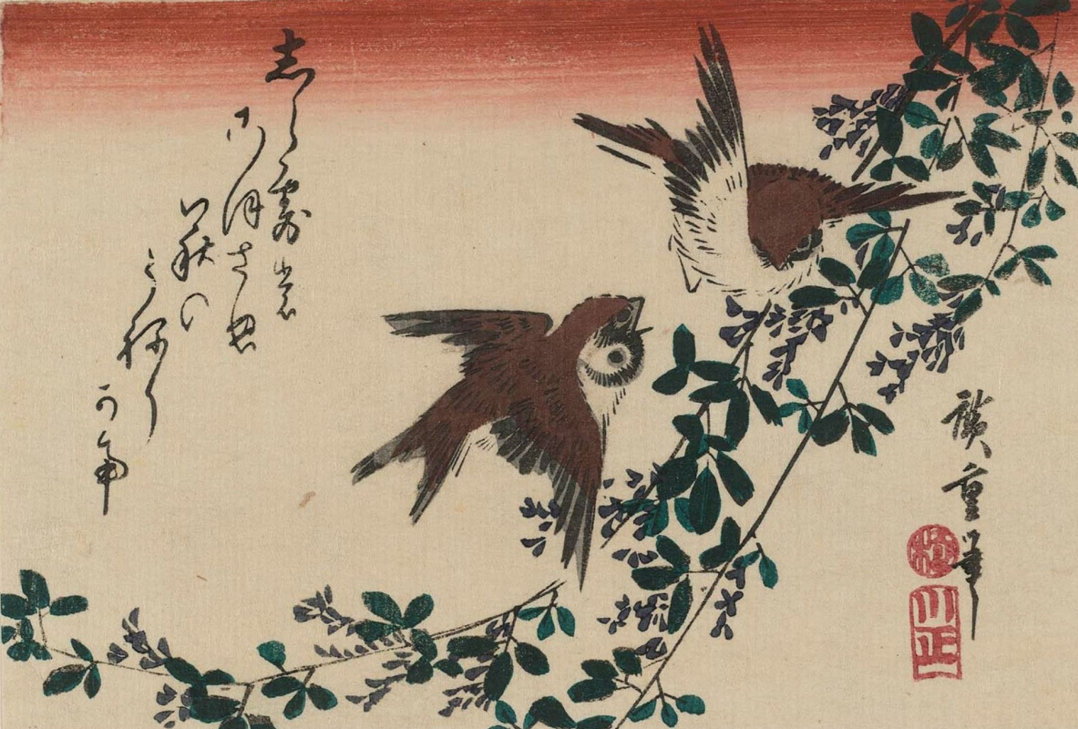 """Utagawa Hiroshige. Two sparrows arguing in the bushes of clover. Series """"Birds and flowers"""""""