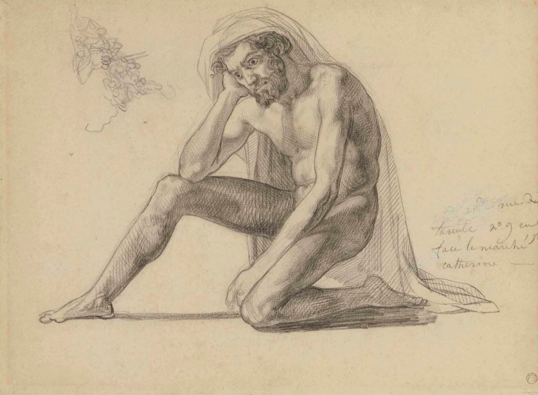 """Théodore Géricault. A naked man sitting at the mast. Sketch for the painting """"The Jellyfish Raft"""""""
