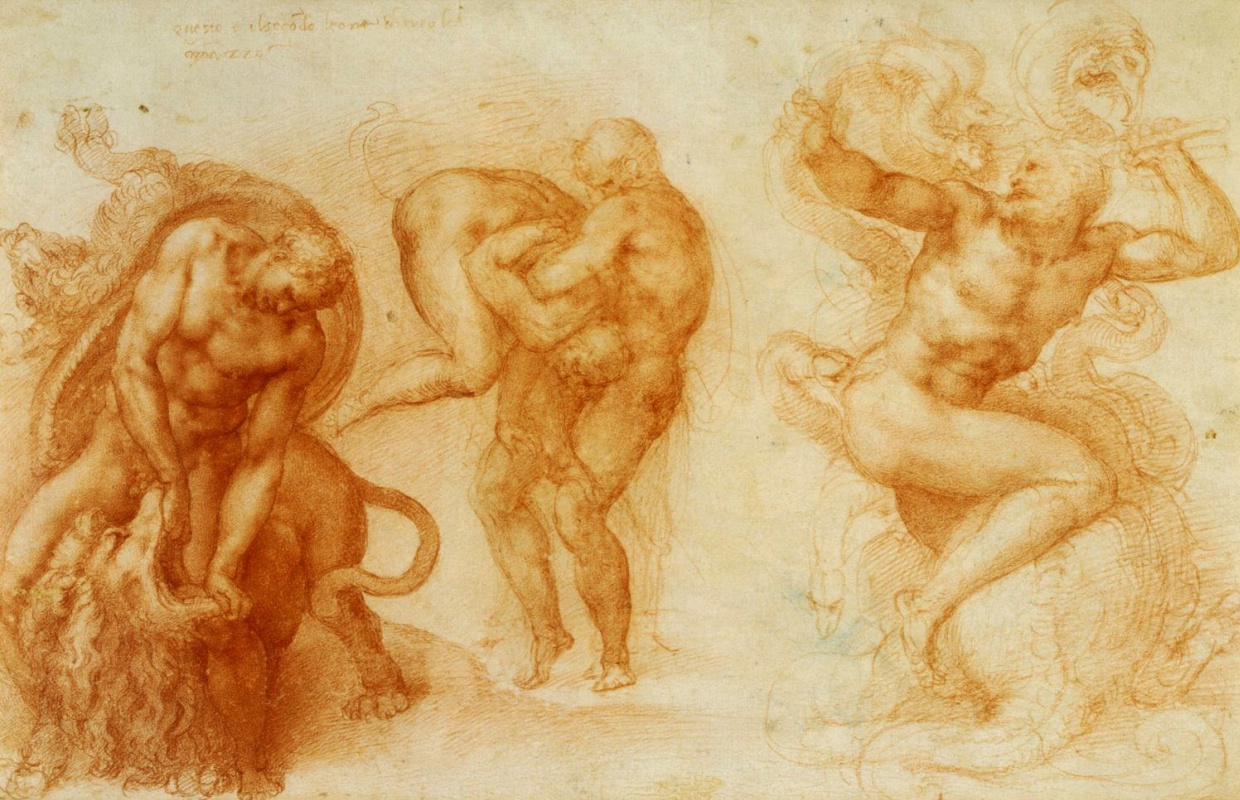 Michelangelo Buonarroti. Three feats of Hercules. Etude