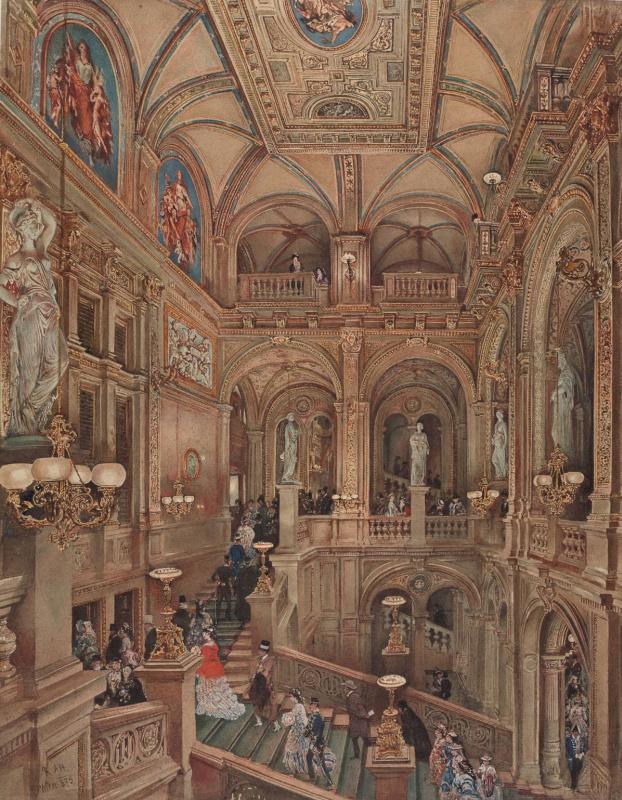 Рудольф Риттер фон Альт. Лестница в Королевской опере Вены