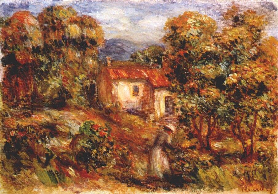 Пьер Огюст Ренуар. Женщина собирает цветы (сад в Коллетт)
