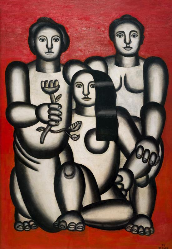 Trois femmes sur fond rouge
