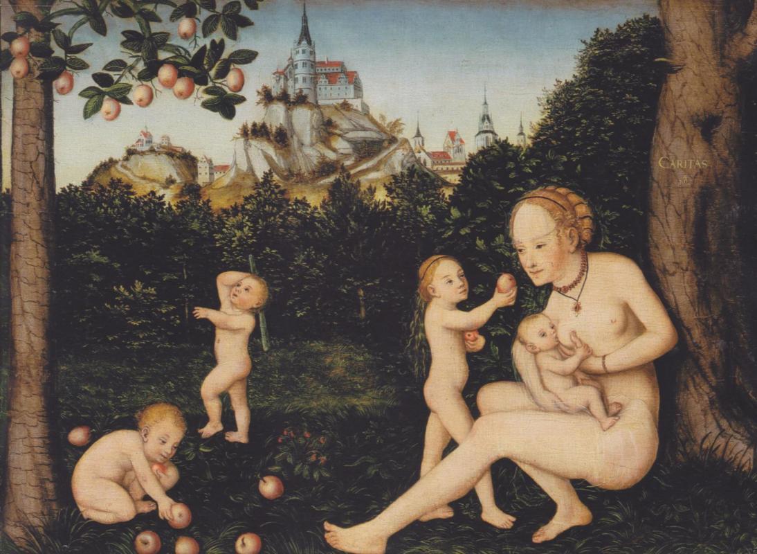 Lucas the Younger Cranach. Charity. Art Gallery, Hamburg.