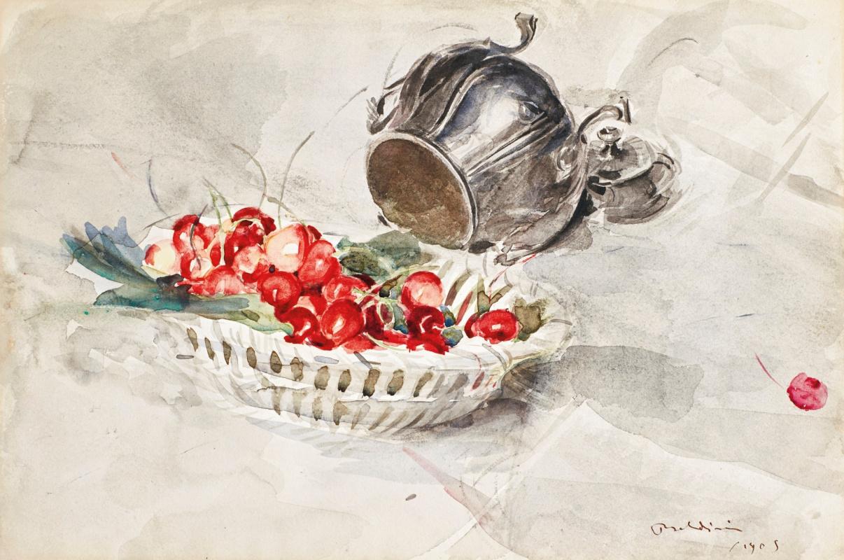 Джованни Больдини. Корзина с вишней и серебряная сахарница