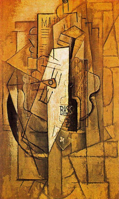 Пабло Пикассо. Бутылка Басса, гитара и трефовый туз