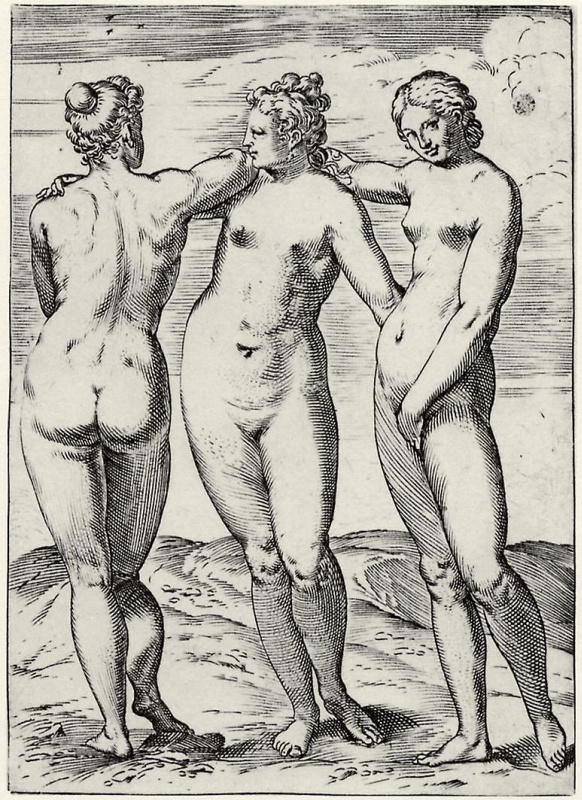 """Agostino Carracci. The series of """"Sensuality"""", the Three graces"""