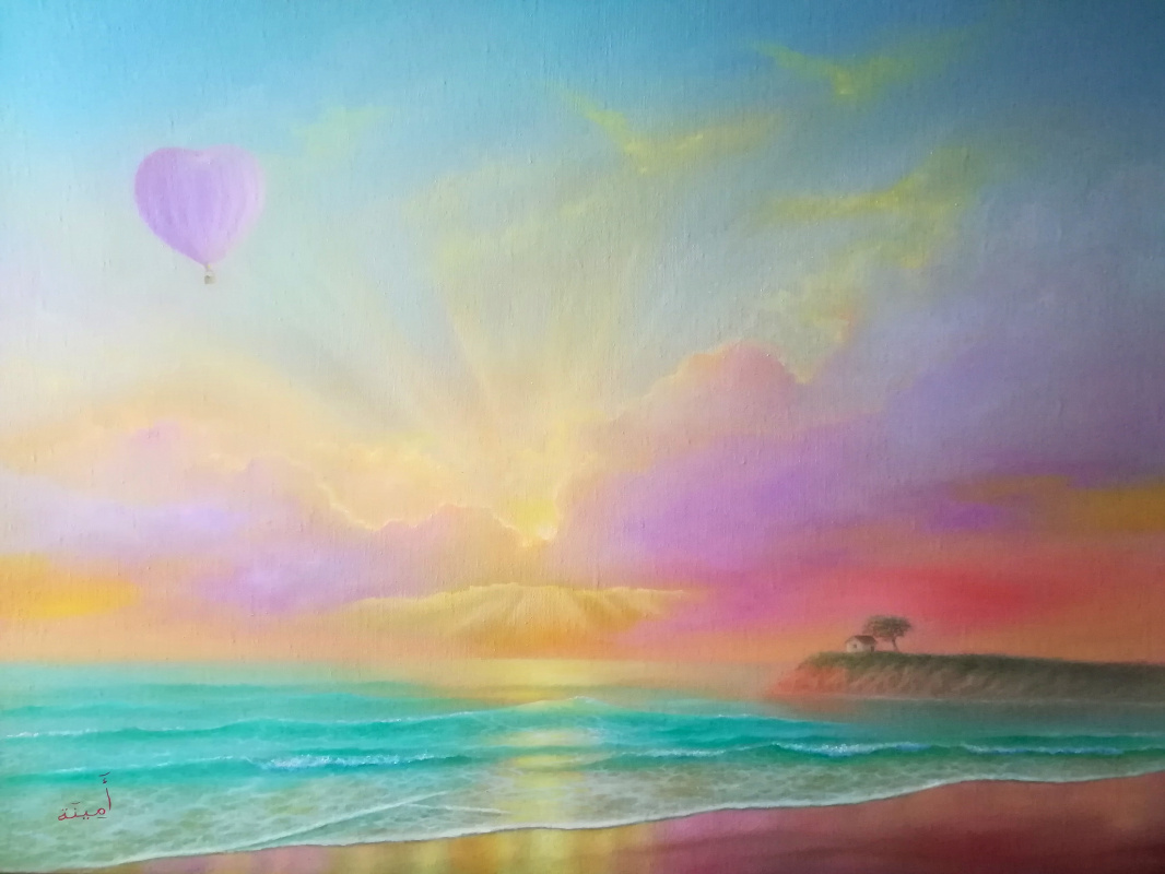 """Amina. Oil painting landscape sea """".. to you"""""""
