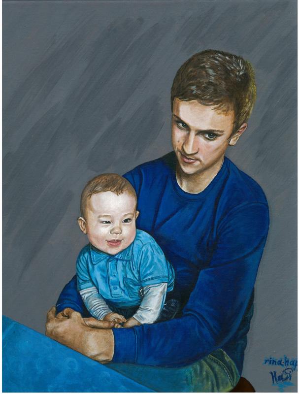 Ирина Владимировна Хазэ. Portrait of two person acrylic