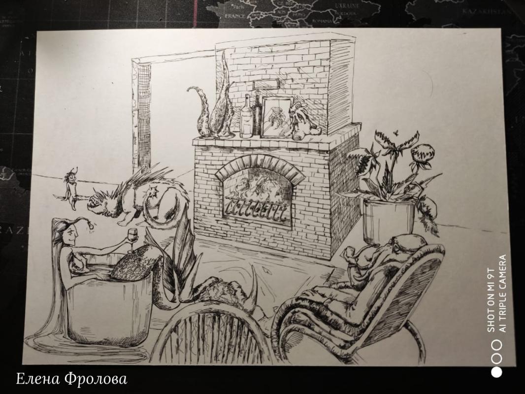 Elena Nikolaevna Frolova. By the fireplace