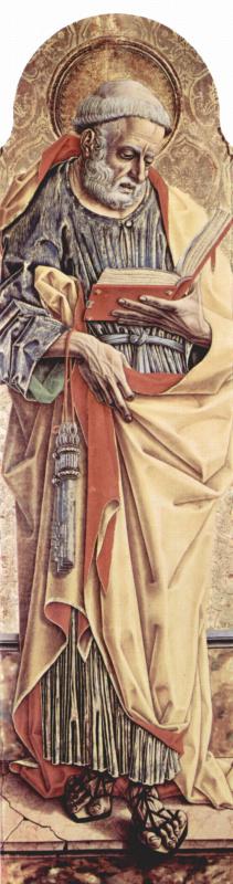 Карло Кривелли. Святой Петр. Центральный алтарь кафедрального собора в Асколи, полиптих, левая створка внешняя сторона