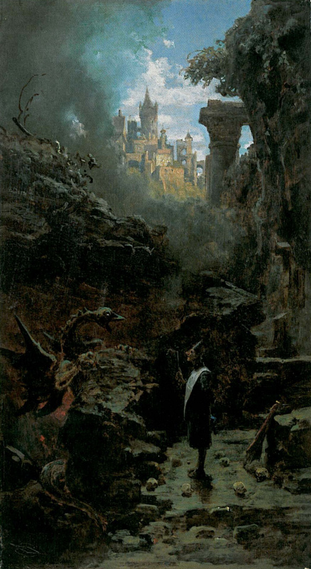 Karl Spitzweg. The wizard and the dragon